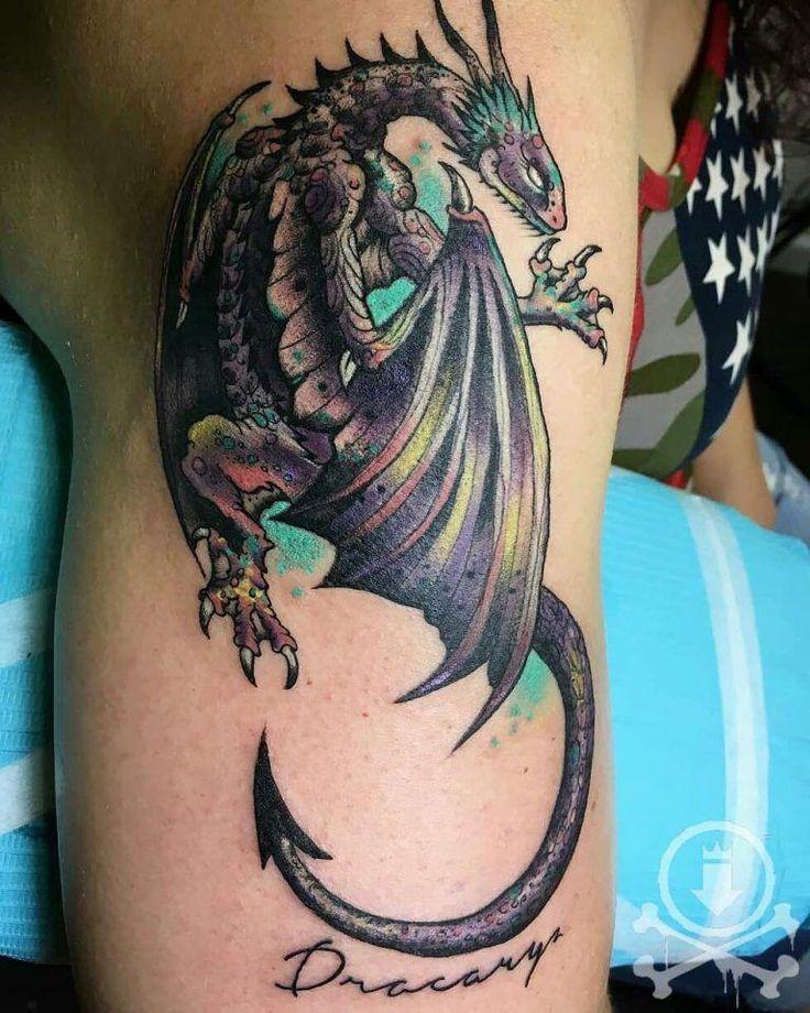 них картинки татуировок драконов на ноге ряде