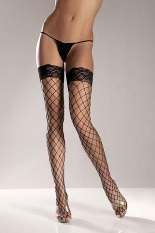 Black Spandex Thigh High Fence Net With Stay Up Lace Top #Bodystocking #Pantyhose #Garters