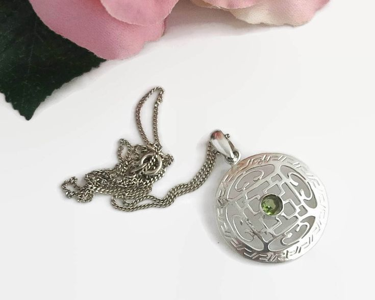 Vintage sterling silver and peridot pendant on fine sterling curb link chain, Chinese style pattern on pendant, stamped 925, circa 1970s by CardCurios on Etsy