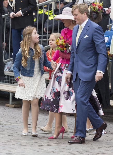 (L-R) Princess Alexia, Princess Ariane, Queen Maxima and King Willem-Alexander of The Netherlands attend celebrations marking his 49th birthday on King's Day on April 27, 2016 in Zwolle, Netherlands.