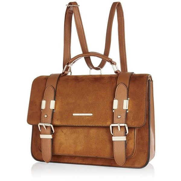 River Island Camel large faux-suede satchel handbag ($60) ❤ liked on Polyvore featuring bags, handbags, satchel, bags / purses, women, brown backpack, camel backpack, vintage style backpacks, brown satchel handbags and backpack satchel