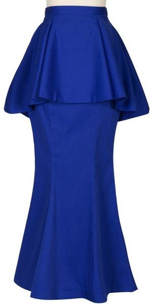 Maxi length Peplum Skirt! Available in Cobalt, Red and Black at Mode-sty.