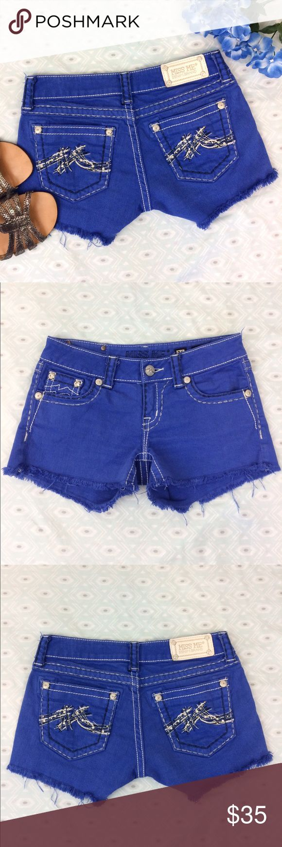 Miss Me | Royal Blue Denim Shorts • Miss Me blue shorts. • 98% cotton & 2% elastane. • Preloved. • Size 26. • {If you have any questions please ask before buying.} •Colors may vary slightly from pictures• Miss Me Shorts