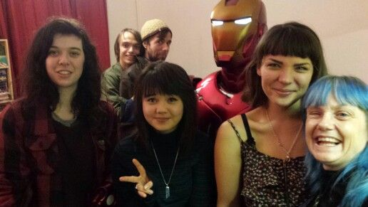 Front to back.  Me, Hanna, Kerensa and Jaz with Ironman Max and Dan. Friday 4th of December 2015. #partyheros of Bath.