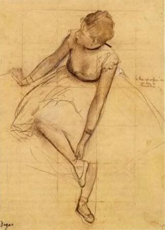 Edgar Degas, Dancer Adjusting Her Slipper, c. 1874 Pencil, charcoal, and white chalk on paper, 327 x 245 mm Metropolitan Museum of Art, New York