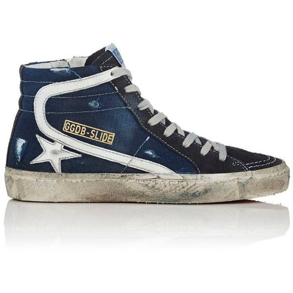 Golden Goose Women's Women's Slide Suede & Jersey Sneakers ($530) ❤ liked on Polyvore featuring shoes, sneakers, lace up shoes, high top shoes, metallic gold high top sneakers, suede sneakers and golden goose high tops