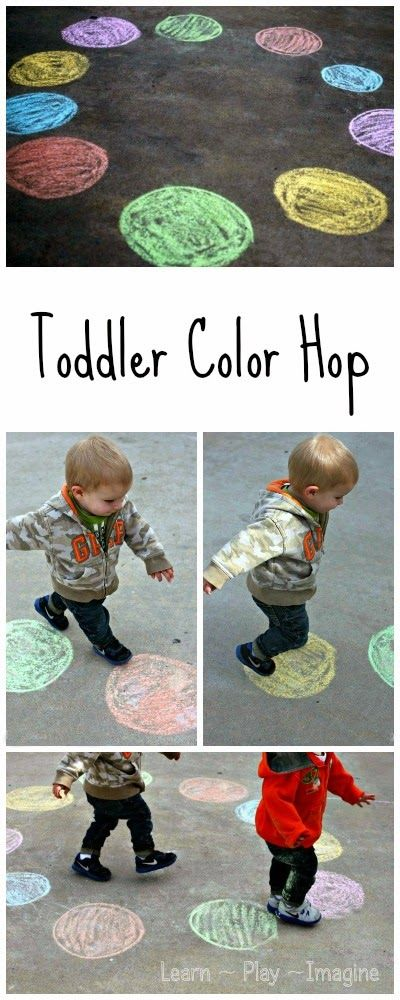 simple gross motor game for toddlers to teach color recognition: the color hop (learnplayimagine.com)