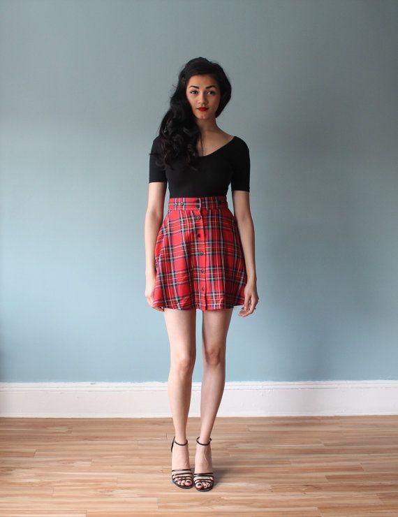 tartan mini skirt / red plaid a line skirt (s) via Etsy