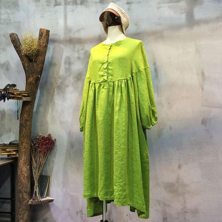 Spring Linen Round Neck Loose Light Green Dress