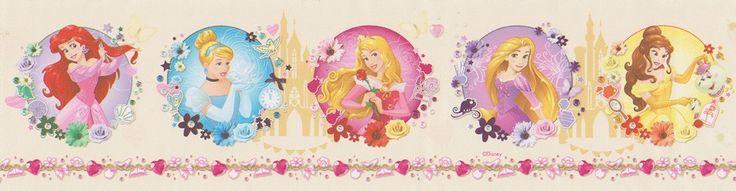 Cenefa PR3509-2 con imágenes de la parte superior del tronco de diferentes princesas de Disney, presentadas en círculos de diferentes colores dependiendo del color de cada princesa, y separadas entre ellas por dibujos de castillos.  Esta cenefa tiene un fondo de color beige/ocre y las princesas están pintadas en distintos colores.