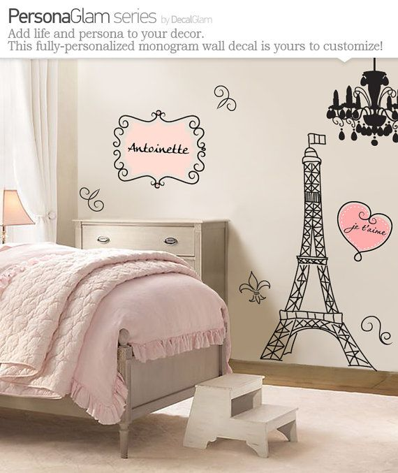 Wall Decal - Large Vinyl Art Sticker - Paris, France - Eiffel Tower - Name Personalization monogram - Fleur de Lis - Girls Teens - Chic via Etsy