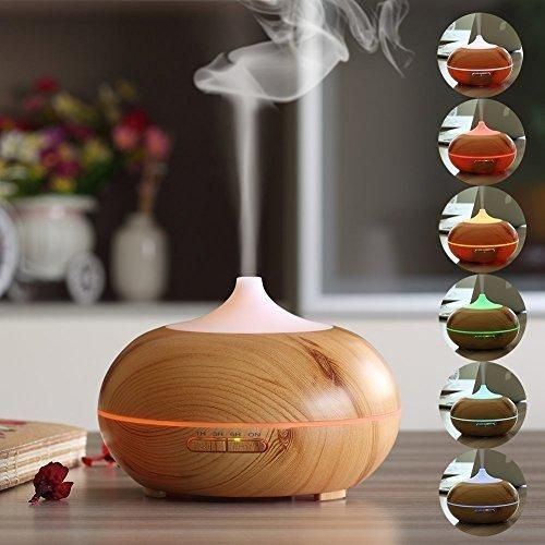 Kekilo 300ml Aroma Essential Oil Diffuser with 7 Color Changing for House Yoga Spa Room GX-12K (Light Wood)
