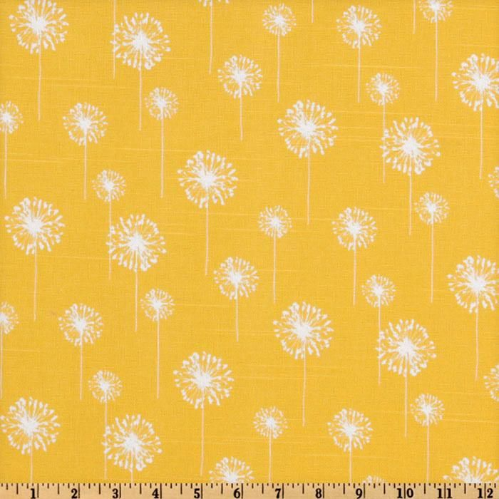Premier Prints Small Dandelion Slub Yellow/White from @fabricdotcom  Screen printed on cotton slub duck (slub cloth has a linen appearance); this versatile medium weight fabric is perfect for window accents (draperies, valances, curtains and swags), accent pillows, duvet covers, upholstery and other home decor accents. Create handbags, tote bags, aprons and more.