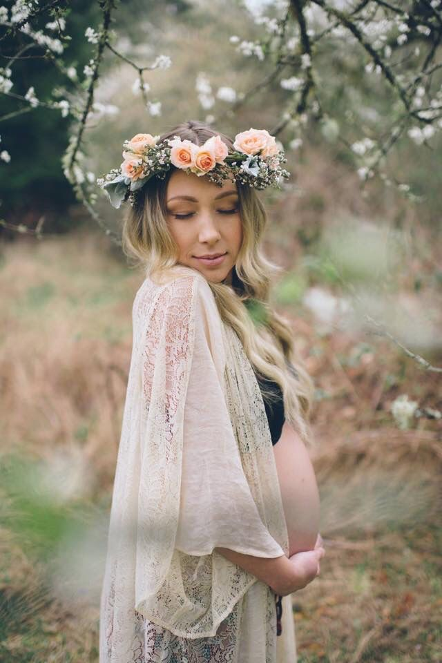 Makeup by - Cydney Sjostrom Makeup Hair - lovely Locks Studio Serene Photography  Pregnancy photography, bohemian, flower crown, Vancouver Island.