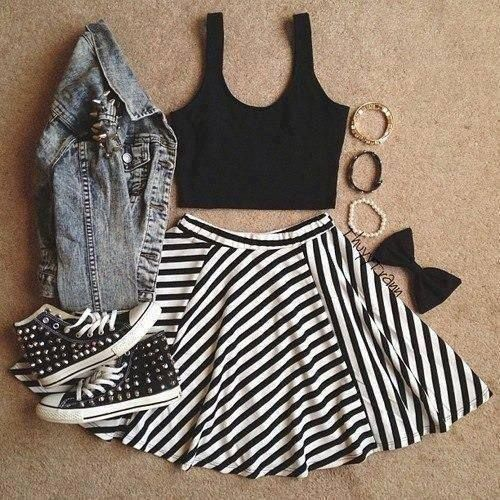 black and white circle skirt, jean jacket, crop top, converse