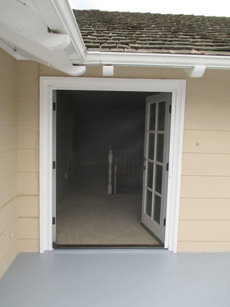 Single StowAway Retractable Screen Door Pulled Across A Double Door. That  Is Correct.