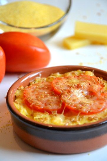 Polenta gratinée à la tomate et aux graines de lin