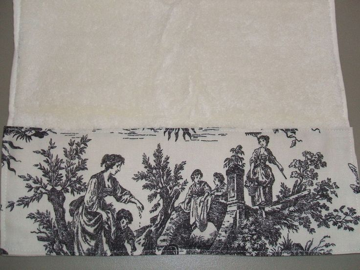 CREAM HAND TOWELS Waverly Black Country French Toile #HandTowels