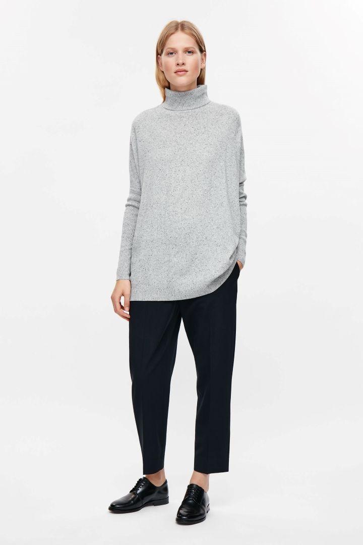 COS image 1 of Roll-neck merino jumper in Light Grey