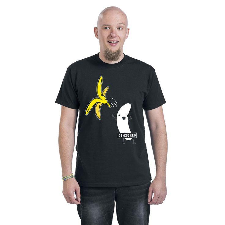 """Classica T-Shirt uomo nera """"Censored"""" con simpatica stampa frontale."""