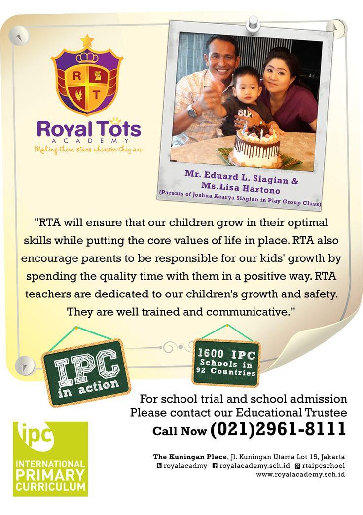 Mr.Eduard L.Siagian & Ms.Lisa Hartono (Parents of Joshua Siagian in Play Group Class)   #Parent #IPC #School #Testimony