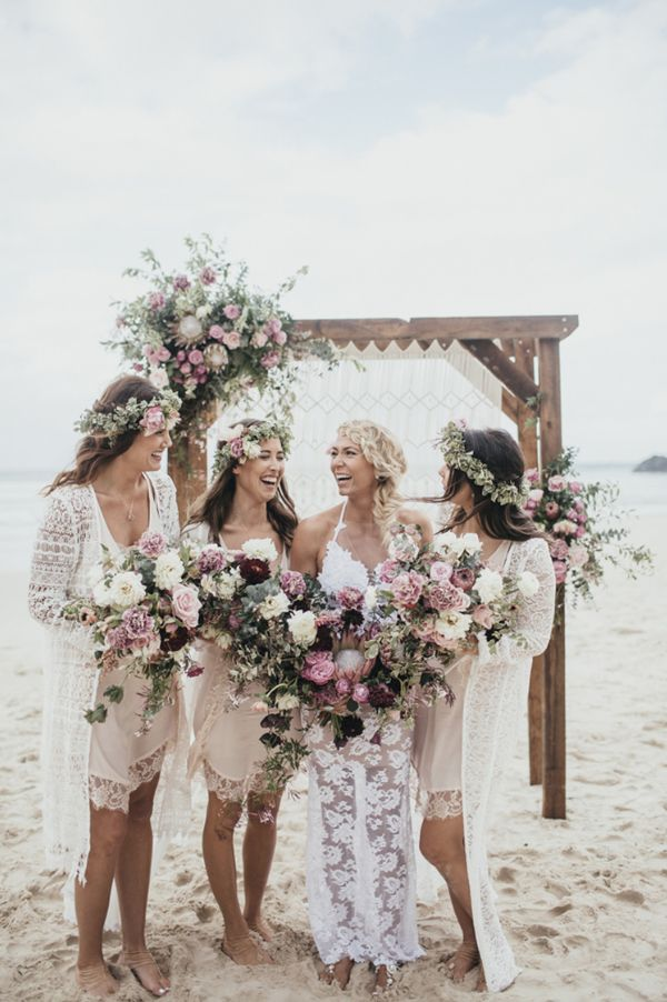 Beautiful Barefoot Bride Allie + her barefoot bridesmaids! A gorgeous boho style beach wedding. Check it out now plus shop their barefoot sandal styles!