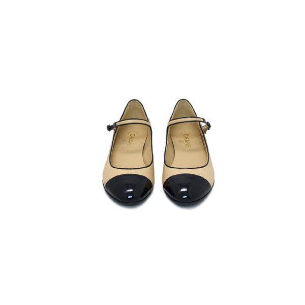 シャネル/ストラップ付き バレエシューズ【ブランドショップ/セレブブランド】 ❤ liked on Polyvore featuring shoes, flats, chanel, footwear, zapatos, flat shoes, flat pump shoes, flat heel shoes and flat pumps