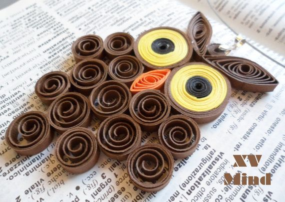 Handmade Brown Paper Owl Pendant by XV Mind - Ciondolo Girocollo Gufo Marrone di carta Fatto a mano by XV Mind