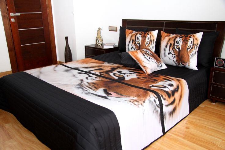 Přehoz na postel černý s 3D obrázkem tygra
