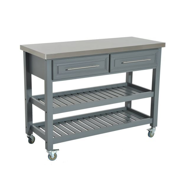 Homcom Wood Stainless Steel Portable Kitchen Island Cart On Wheels Gray With Images Portable Kitchen Island