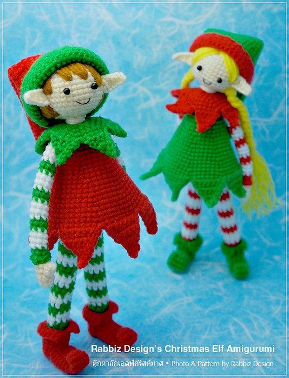 PDF Pattern Amigurumi Christmas Elves by rabbizdesign on Etsy