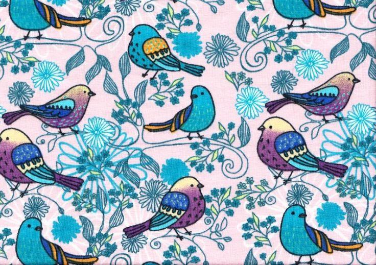 T924 Trikå fåglar i träd ljusrosa