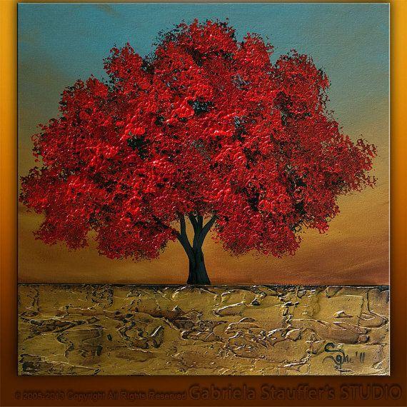 Abstract Modern Textured Original Landscape Tree Art by Gabriela 20x20x1.5 on Etsy, $99.00