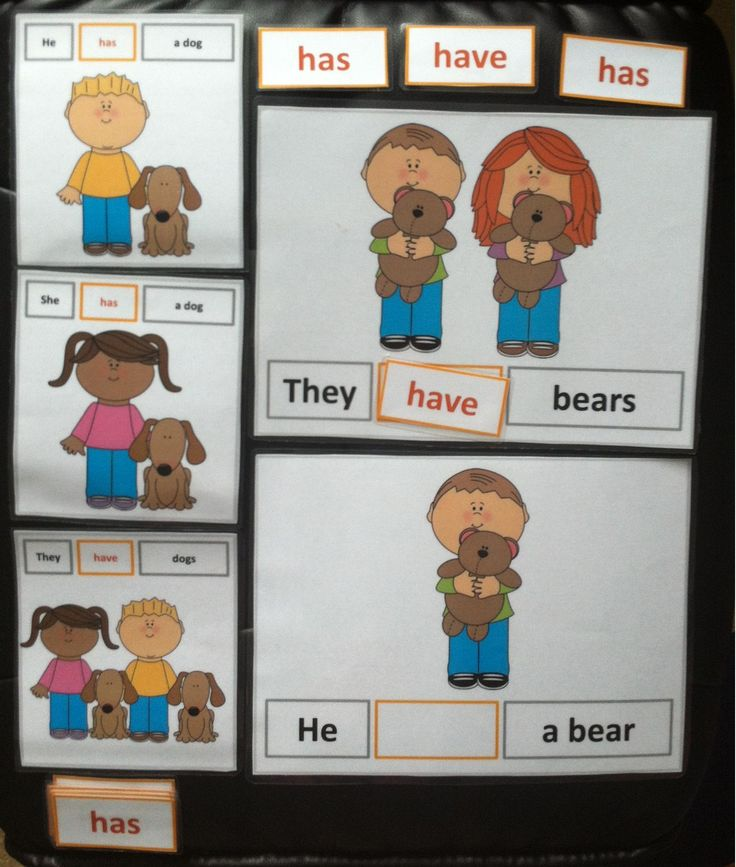 Verbs Have and Has (Present Form) Cut and Paste Worksheets & Flashcards  This package is designed to teach the different forms of 'have' for the subject pronouns: He, She, They  http://www.teacherspayteachers.com/Product/Verbs-Have-and-Has-Present-Form-Cut-and-Paste-Worksheets-Flashcards-782326