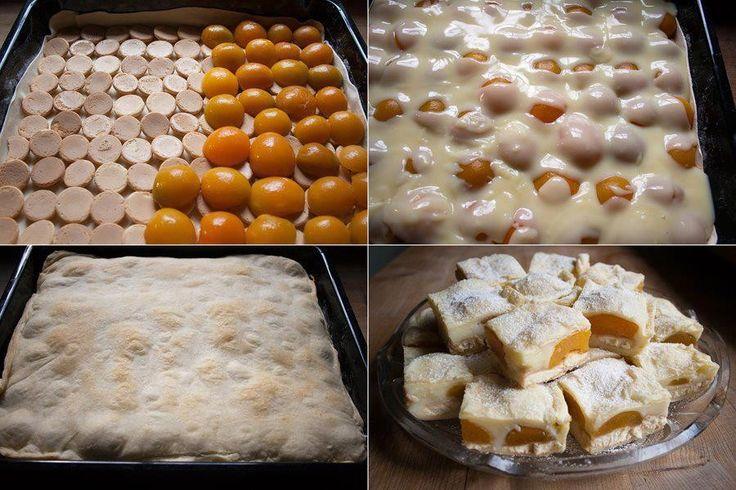Elkészítés: 1 csomag leveles tészta, felét kisodorjuk és tepsibe rakjuk, majd rárakunk szorosan babapiskótát (gömbölyűt), erre barackkompótot, utána főzünk 1 liter tejből vaníliás pudingot (2…