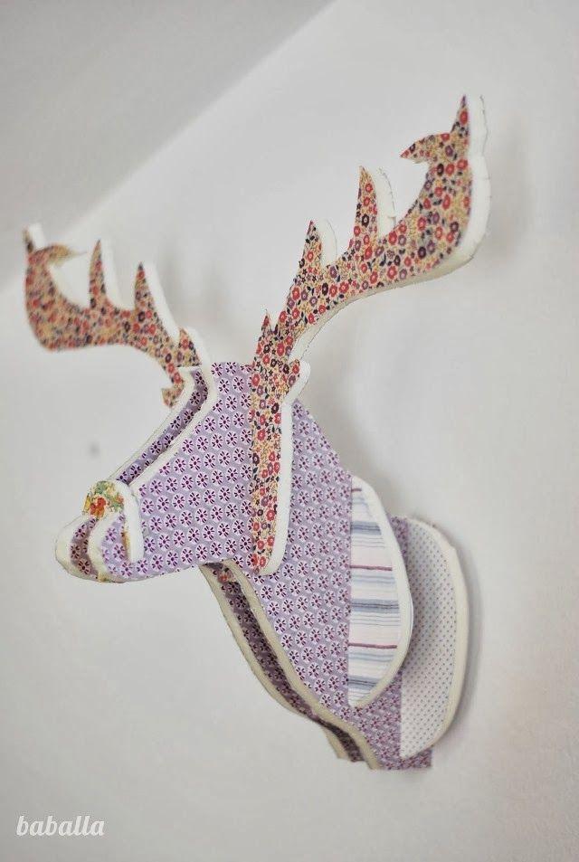 DIY: Cabeza de ciervo con cartón pluma y telas