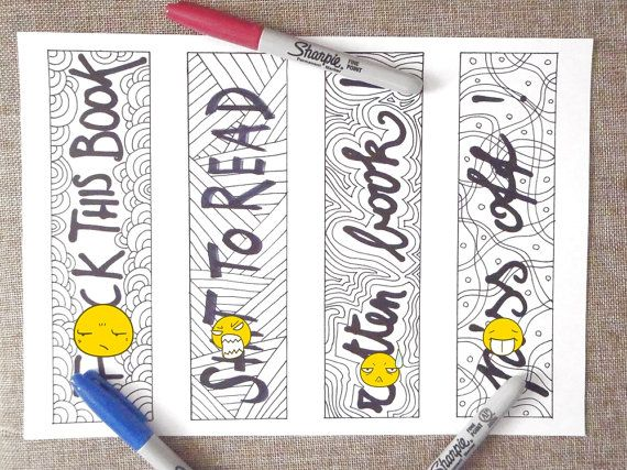 swear word bookmarks adult coloring book sweary di LaSoffittaDiSte