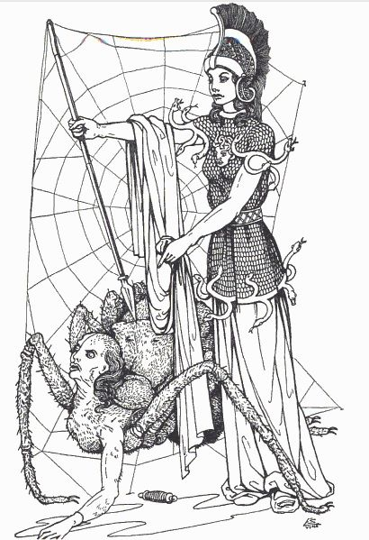 Athena and Arachne illustration by Edouard Sandoz from Olivia E. Coolidge's Greek Myths 1949 #vintage #spider #mythology