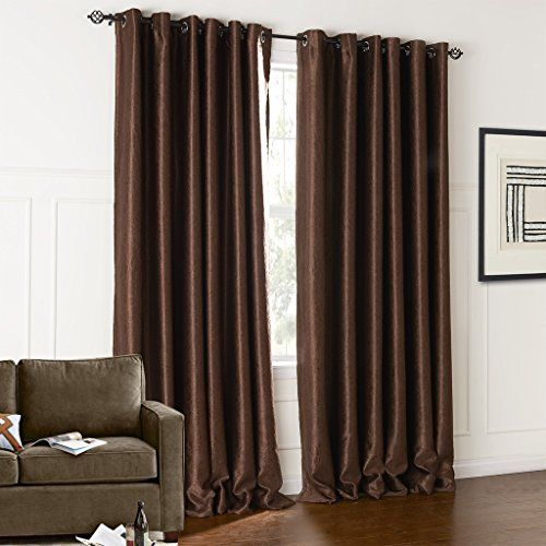 IYUEGO Modern Classic Brown Solid Floral Embossed Blackout Grommet Top Curtain With Multi Size Custom 100 W x 63 L One Panel ** You can get additional details at the image link. (This is an affiliate link and I receive a commission for the sales)