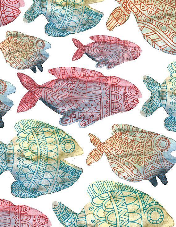 Postcard Illustrated Fish Shoal Aquarel and door IsaBellabyMargriet