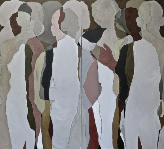 An original work by Shany van den Berg entitled: An Other, oil paint on vintage linen, 200 x 180cm #diptych #shanyvandenberg #another #oil #knysnafineart #thegalleryatgrandeprovence #trentread #contemporaryart #fineart #southafricanart #southafricanartist For more please visit www.finearts.co.za