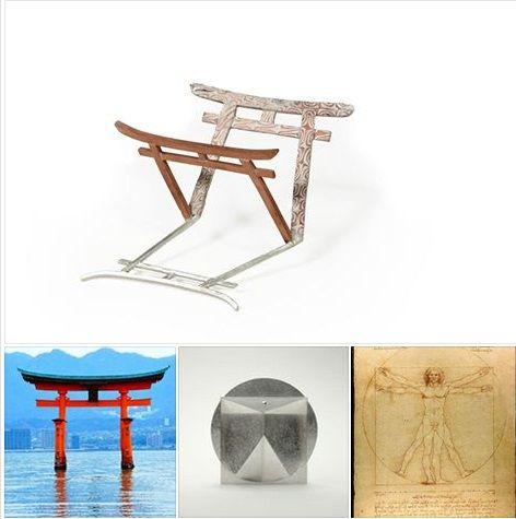 "dialoghi Italy-Japan - Stefano ROSSI  (top) brooch ""torii"" - argento, rame e mokume gane  &  HIRAKAWA Fumie (bottom) ""Proportion"", brooch (from Leonardo da Vinci, Vitruvian Man)"