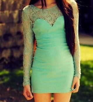 mint lace sleeved dress.