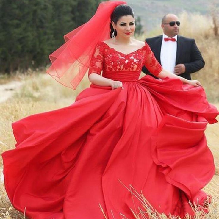 Plus Size 1950s Gothic Red Vintage Ball Gown Satin Wedding Dresses V Neck Back Zipper Half Sleeves Bridal Gowns Vestido De Noiva