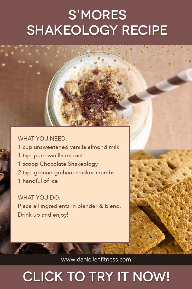 S'mores Shakeology Recipe! A healthy superfood treat after an amazing workout! The scoop of Chocolate Shakeology gives the S'mores Shakeology a rich, chocolaty flavor, vanilla extract stands in for the sweet marshmallow, and real graham cracker crumbs blended into the shake and sprinkled on top are the finishing touch. // shakeology recipe // smores smoothie // s'mores shake // superfood shake // protein shake // chocolate shake recipe // healthy chocolate shake // shakeo recipe // healthy…