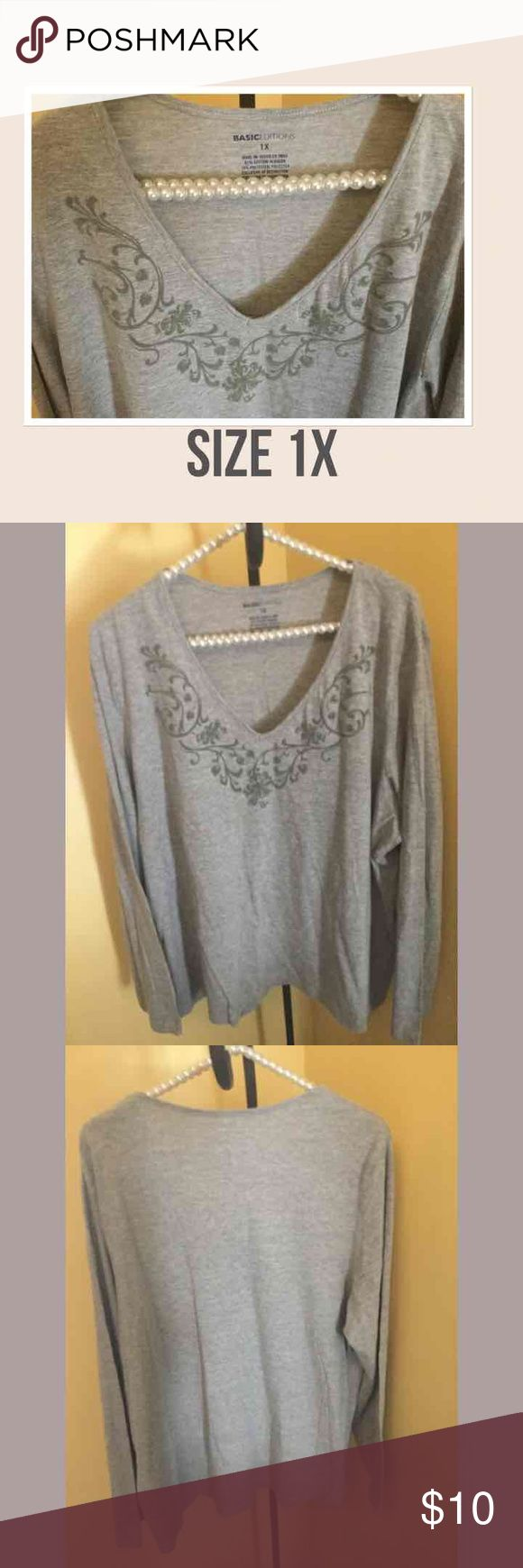 Women's Grey Shirt Women's Grey Shirt   Con-S100  Freshly laundered!  ♡GOD BLESS♡ ☆BUNDLE AND SAVE☆ Basic Edition Tops Blouses