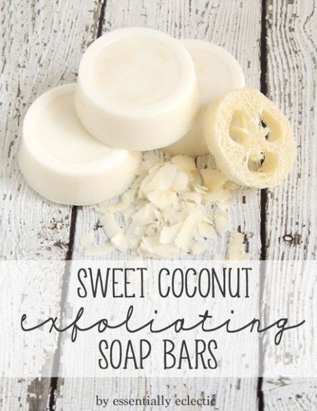 Coconut Loofah Soap by Essentially Eclectic. Easy soap-making tutorial using coconut flakes, coconut fragrance oil, and a loofah sponge!