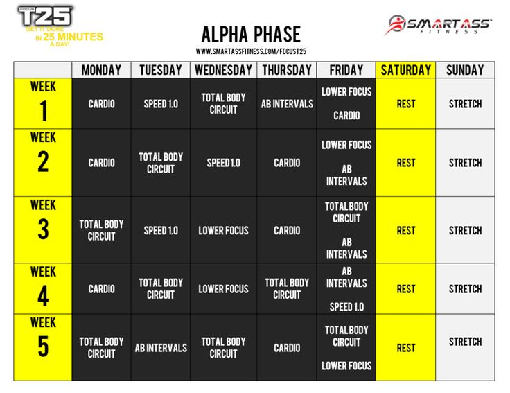 Focus T-25 Alpha Cycle workout calendar