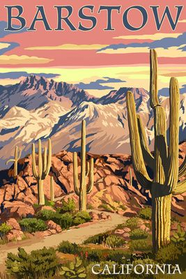 Barstow, California - Desert Sunset - Lantern Press Poster