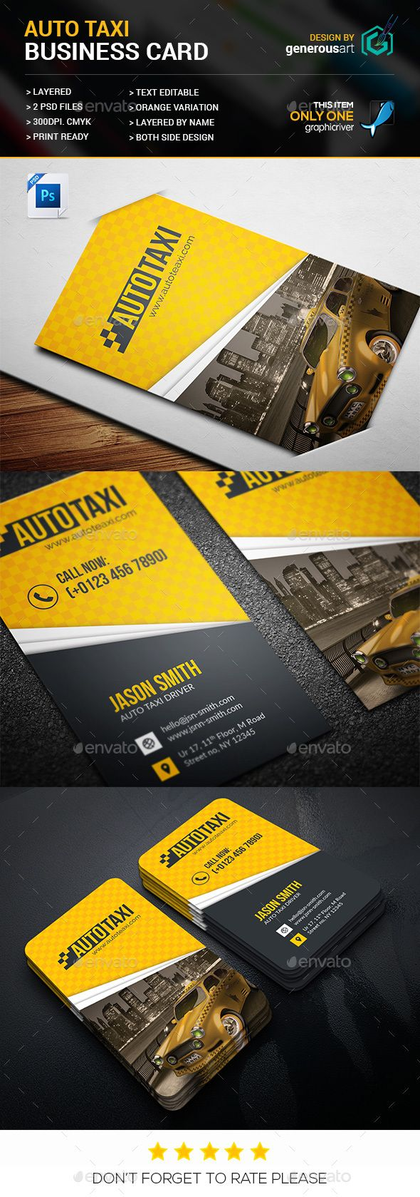 Auto taxi business card business card templates for Taxi business card template